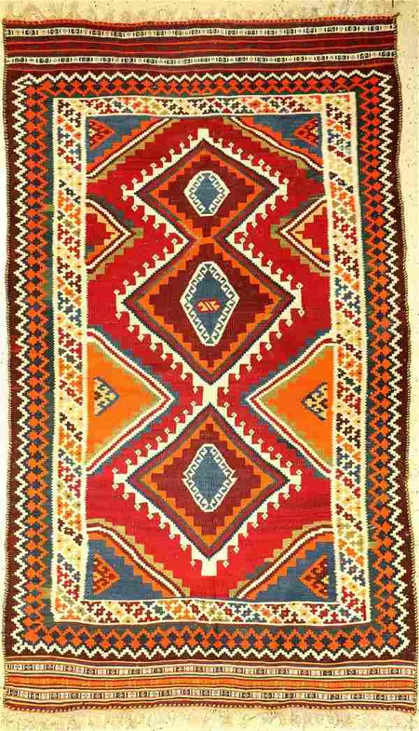 Gaschgai Kilim old, Persia, around 1940, wool on wool