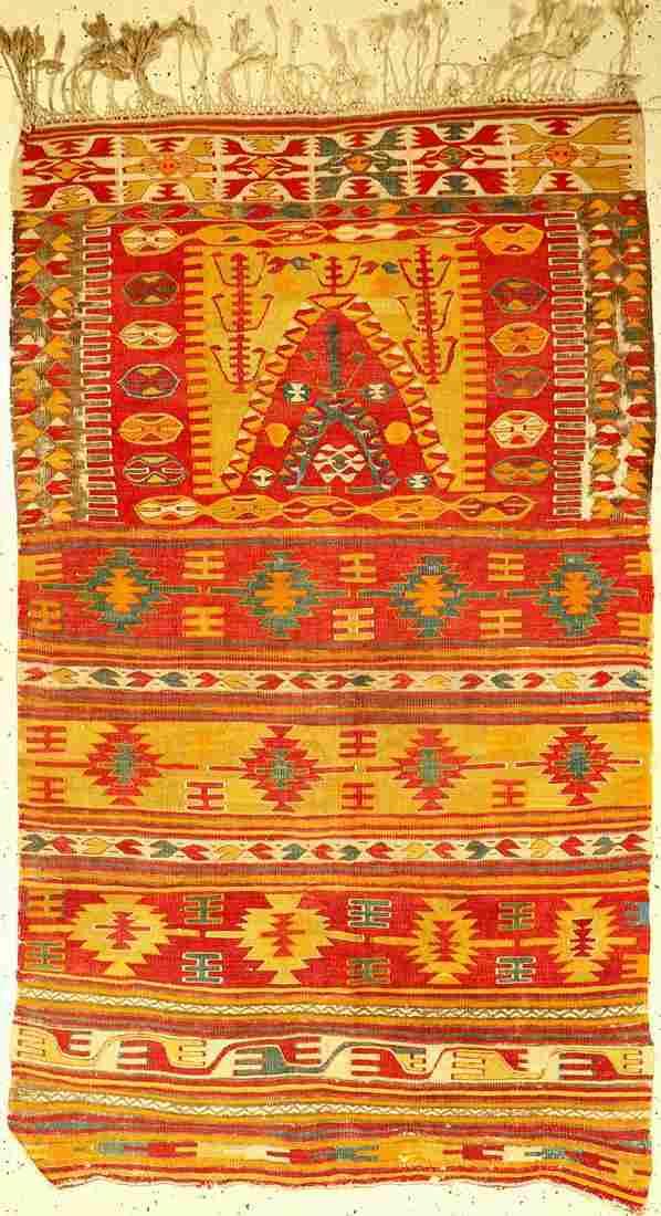 Anatolian kilim old, Turkey, around 1920, woolon wool