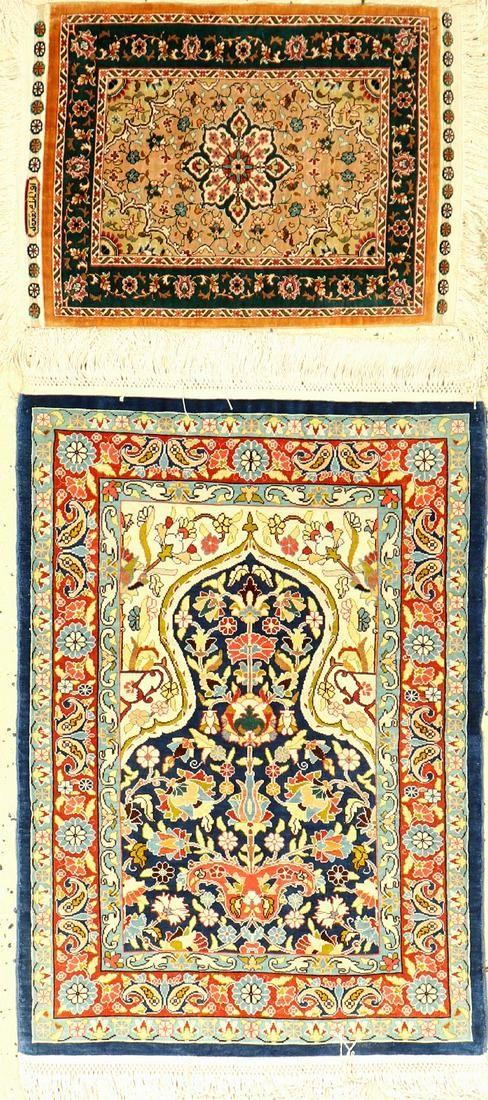 (2 Lots) Hereke silk, Turkey, approx. 40 years, pure