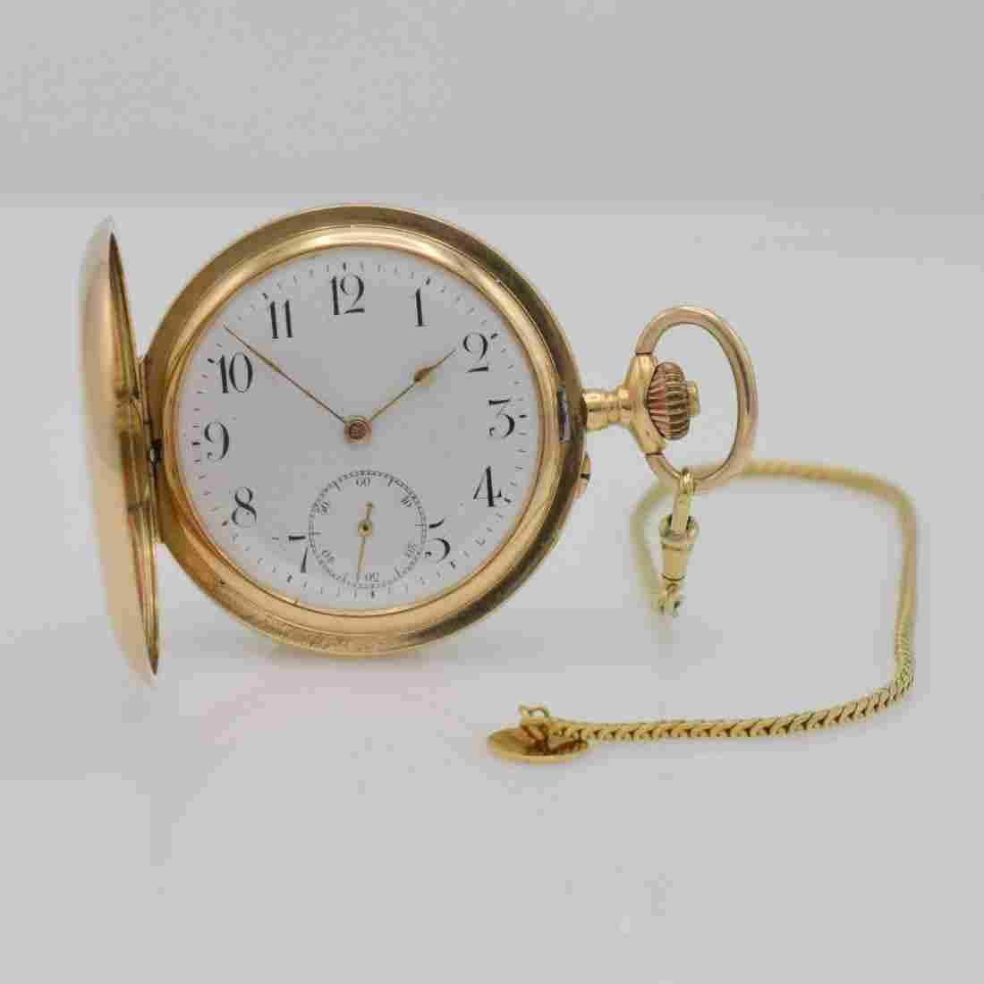 14k pink gold hunting cased pocket watch