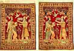A Pair Of Fine Kirman-Ravar 'Pictorial Rugs' (Rostam
