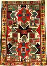 White Ground Star Kazak Rug,