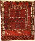 Rare Fine Tekke 'Ensi' Rug (Ruby-Red Silk- Parts),