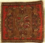 Old pictorial rug, Persia, around 1920, wool on cotton