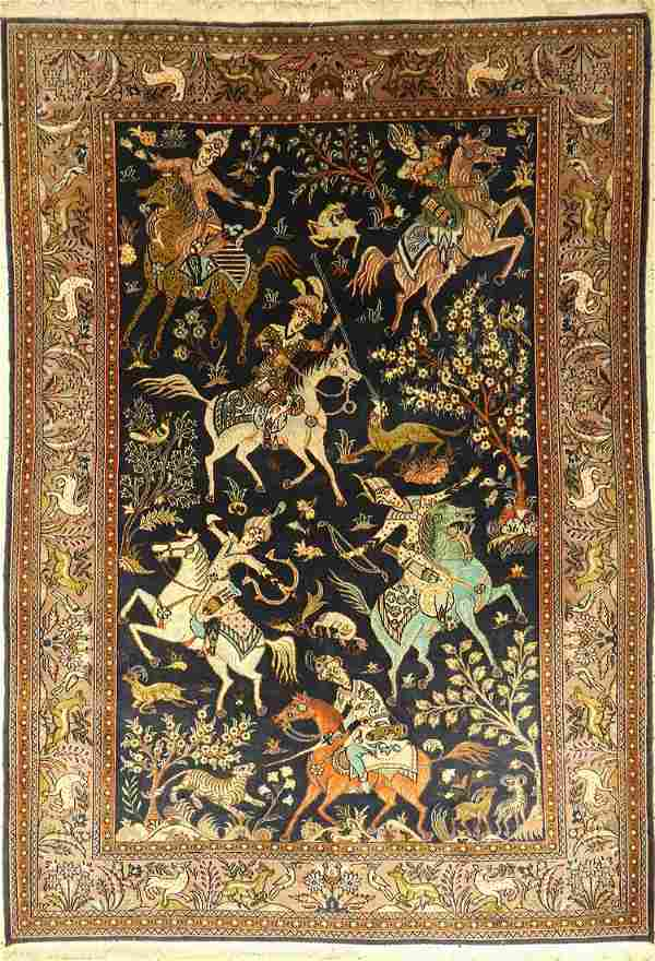 Qum old rug, Persia, approx. 50 years, wool oncotton