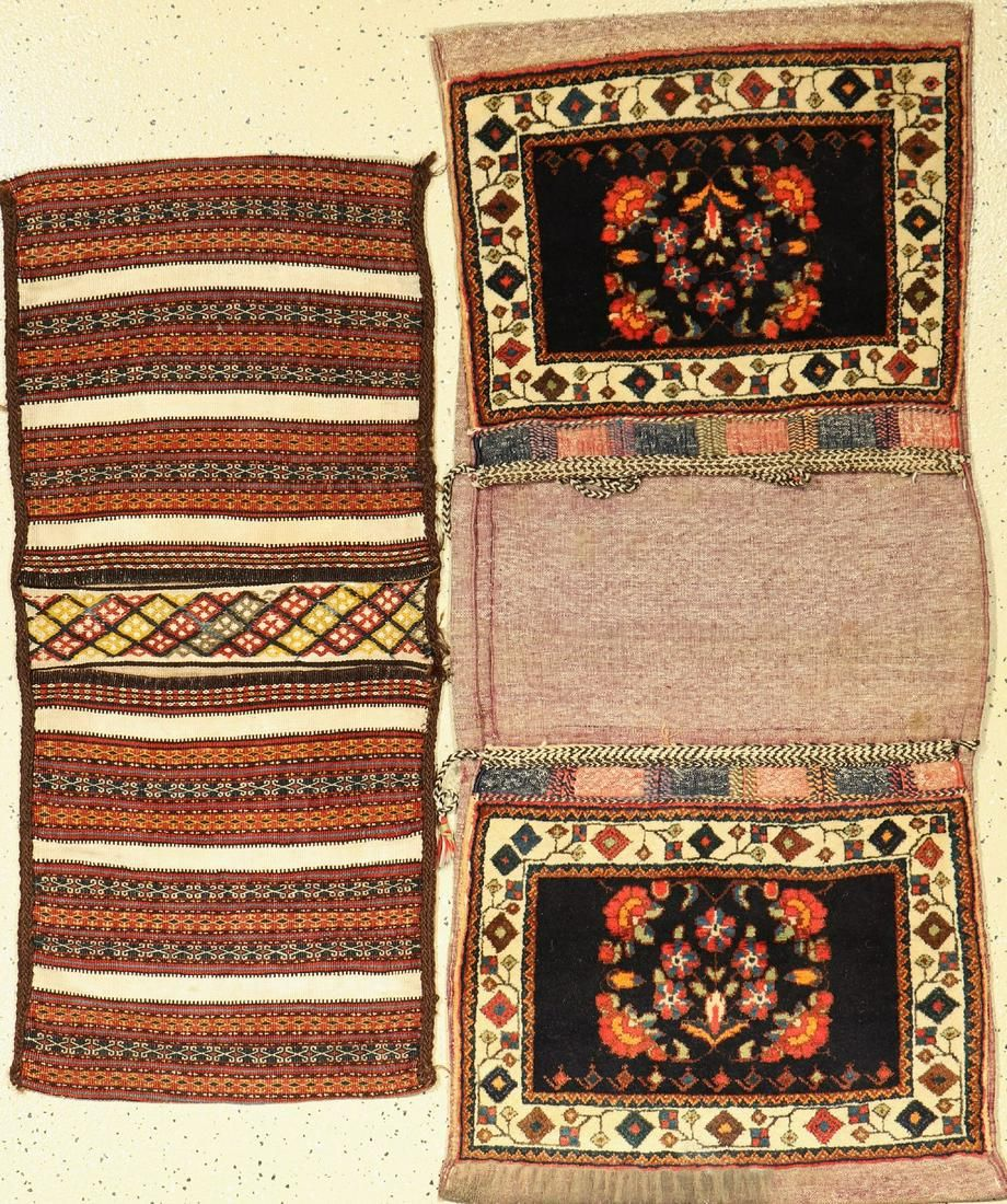 (2 lots) 2 Heybe bags old, Persia, around 1950