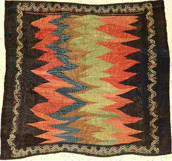 Rare Sofreh old, Persia, around 1940, wool on wool
