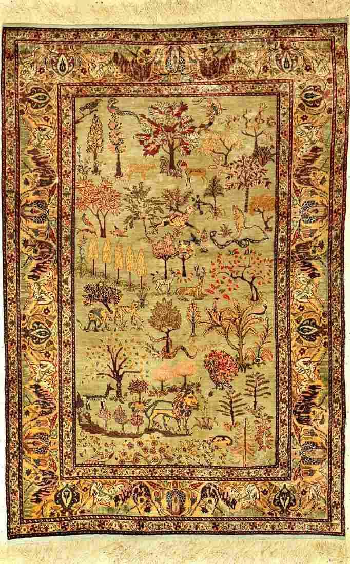 Green silk Kaisery rug old (Paradise), Turkey,around