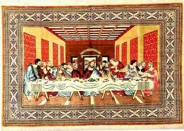 Silk Qum 'Mir Mehdi' fine rug (signed) 'Last Supper'