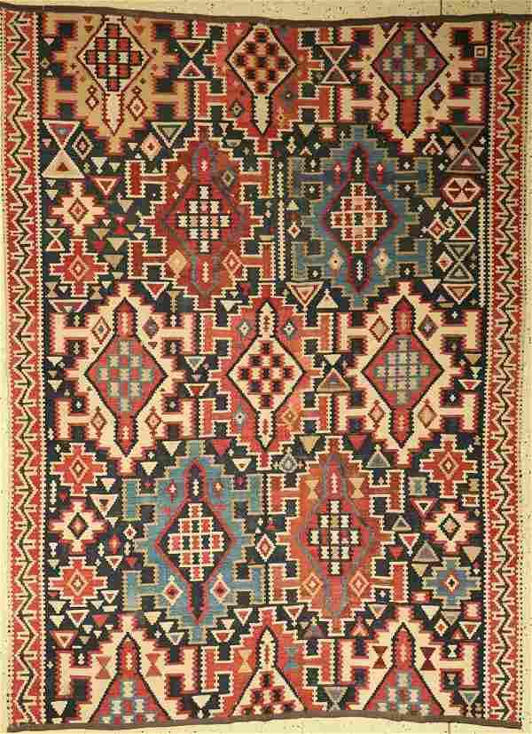 Kuba Kilim (fragment), Caucasus, around 1910, wool on