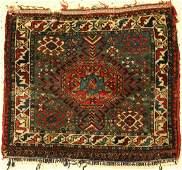 Rare green Qashqai antique bag face Persia 19th