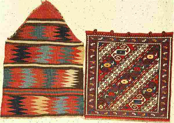 (2 lots) 1x Baku bag face, 1x Shahsavan antique side