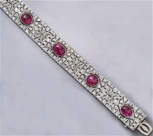 Palladium bracelet with rubies and diamonds