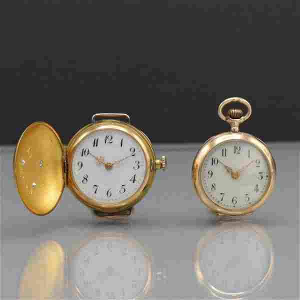 Set of 2 14 k yellow/pink gold ladies pocket watches