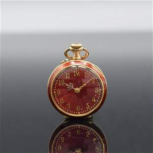 Open face 14k yellow gold ladies pocket watch