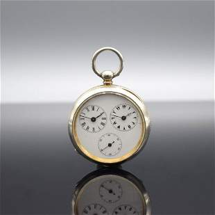 Open face pocket watch with double time display