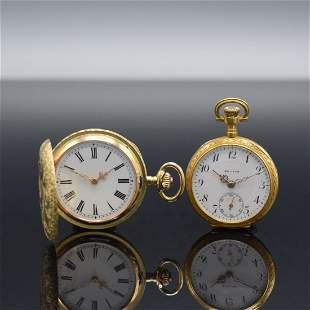 ZENITH / anonymous set of 2 gold ladies pocket watches