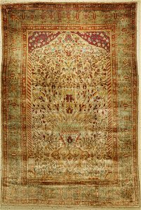 Silk Kashan Mohtascham, antique, Persia, late 19th