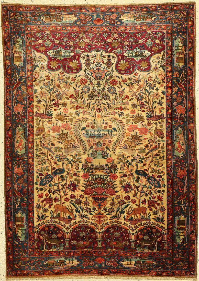 Kashan Dabir old, Persia, around 1920/1930 wool on