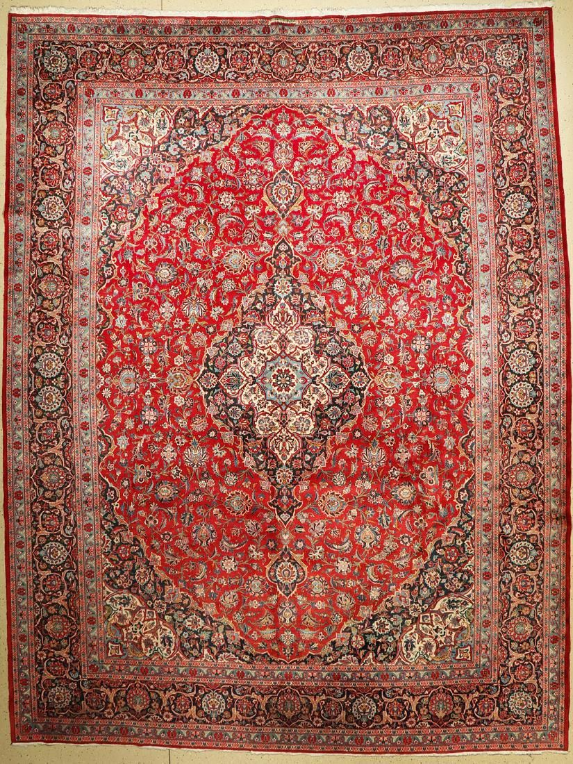 Kashan old signed, Persia, around 1960, wool on cotton