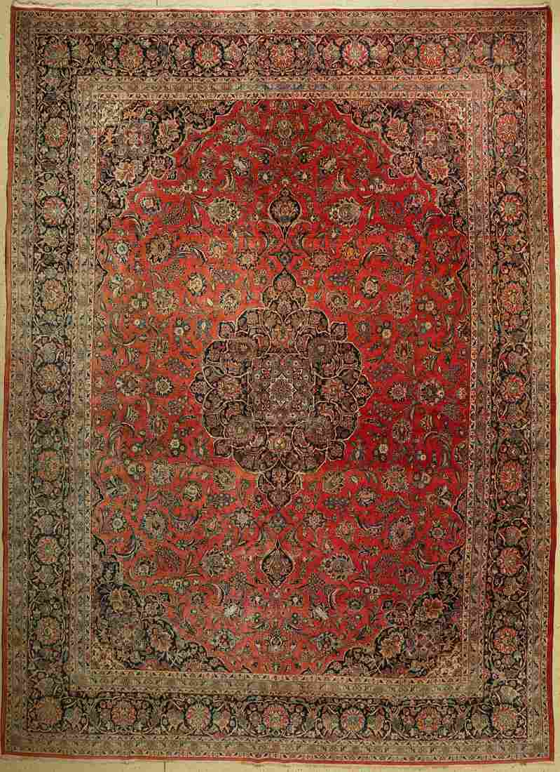 Kashan old, Persia, around 1940, wool on cotton