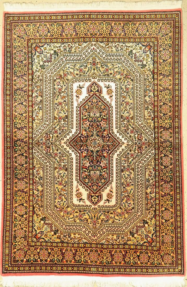 Qum (silk ground), Persia, approx. 50 years, wool with