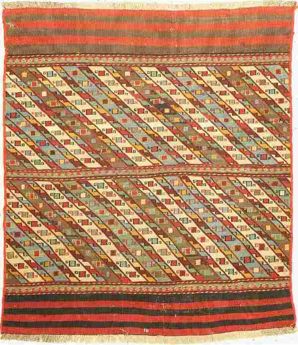 Ghashgai open kilim bag, Persia, around 1950, wool on