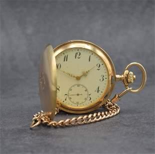 GENIUS 14k pink gold hunting cased pocket watch