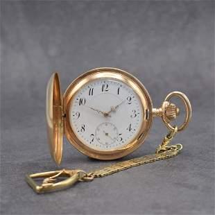 H.S 14k pink gold hunting cased pocket watch