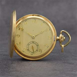 14k yellow gold hunting cased pocket watch