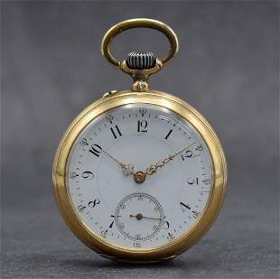 THOMMEN 14k pink gold open face pocket watch