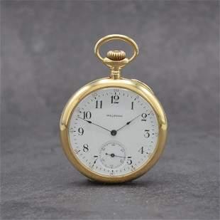 WALTHAM 14k yellow gold open face pocket watch