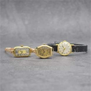Set of 3 ladies gold wristwatches