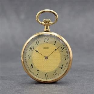 SÜRETE open face 14k pink gold pocket watch
