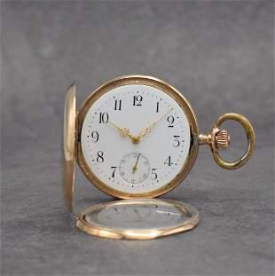 8k pink gold gents hunting cased pocket watch