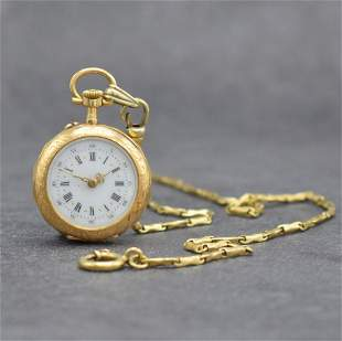 18k yellow gold ladies pocket watch with 14k yellow