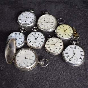 8 pocket watches in silver with lever escapement