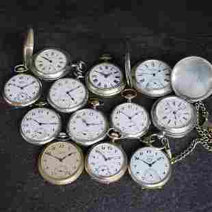Set of 9 open face & 3 hunting cased pocket watches