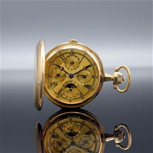 Heavy 14k yellow gold hunting cased pocket watch