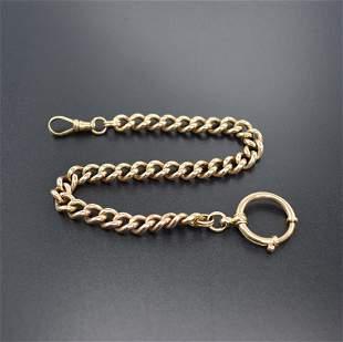14k pink gold pocket watch chain, Germany around 1900