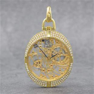 IWC 18k yellow gold & diamond set open face pocket