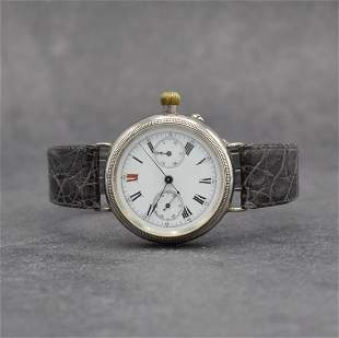 Early wristwatch with chronograph in silver