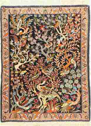 Isfahan fine, Persia, approx. 60 years, wool on cotton