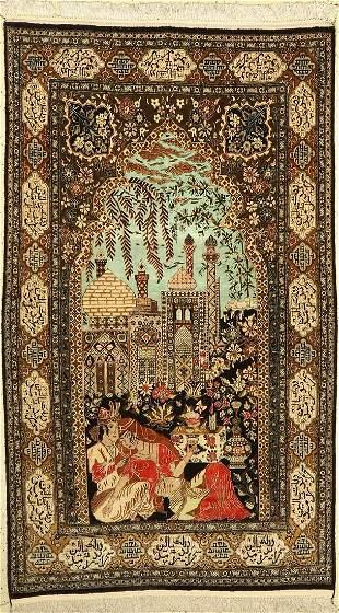 Qum silk old, Persia, around 1940, pure natural