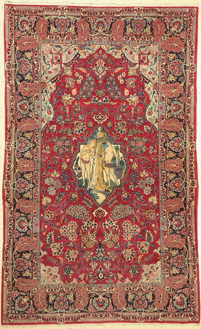 Kashan , Persia, around 1940, wool on cotton, approx.