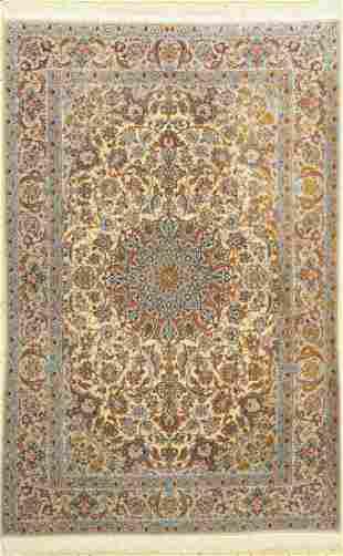 Isfahan fine, (silk ground), Persia, around 1950, wool