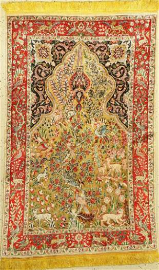 Tabriz silk suf fine, Persia, around 1950, silk (metal