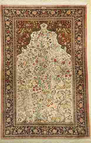 Qum silk old signed, (Hematdju), Persia, around 1950