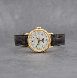 BERNEY 18k yellow gold ladies wristwatch with calendar