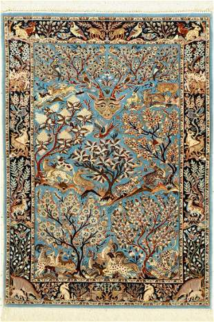 Isfahan fine, Persia, approx. 50 years, wool on cotton